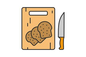 Cutting board with sliced bread icon