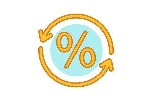 Percent conversion color icon