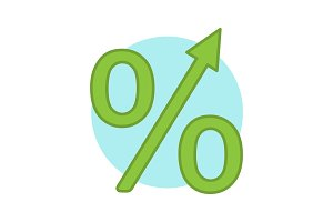 Percentage growth color icon