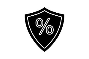 Shield with percent glyph icon