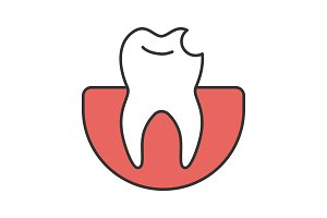 Broken tooth color icon