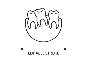 Crooked teeth linear icon