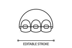 Dental braces linear icon