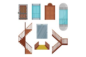 Cartoon Elevators and Stairs Set.