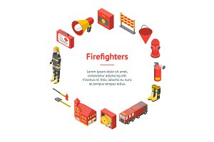 Firefighter Man and Equipment Set
