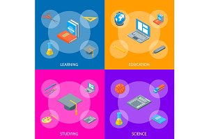 School Equipments Set Isometric