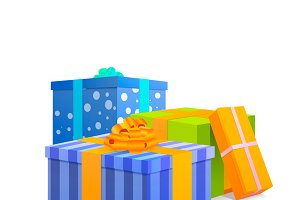 Group of bright colourful presents