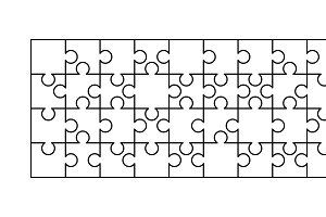 36 white puzzles pieces template