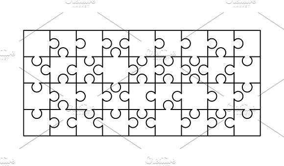 36 white puzzles pieces template graphic objects creative market