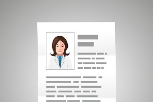 Doctor CV with woman photo
