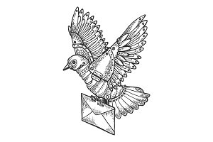 Mechanical mail pigeon bird animal