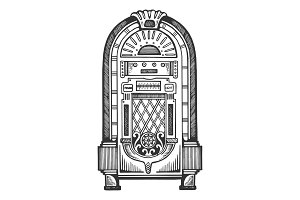 Jukebox engraving vector