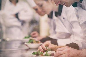 Culinary class kitchen making salat