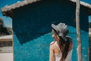 Smiling pretty hipster traveler girl
