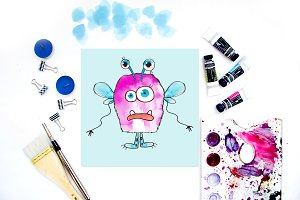 Watercolor monsters creator