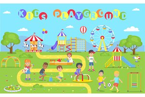 Kids Playground Park Poster Vector