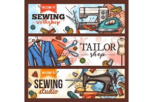 Sewing and tailor shop banner
