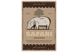 African safari vintage banner