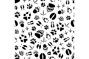 Animal and bird fot print pattern