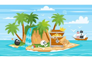 pirate ship, islan,  treasure chest