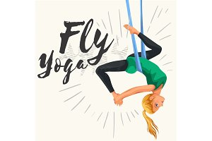 Fly yoga flat poster with girl in