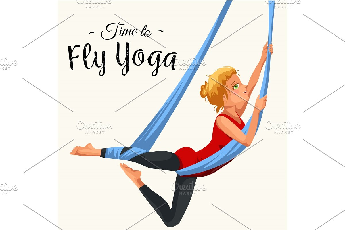 Fly Yoga Flat Poster With Girl In Illustrations Creative Market