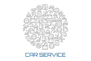 Car service round poster