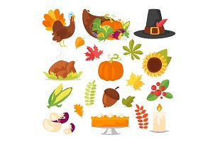 colorful Thanksgiving symbols