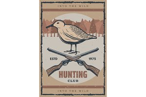 Bird hunting retro banner