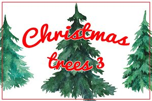 Watercolor Christmas trees 3