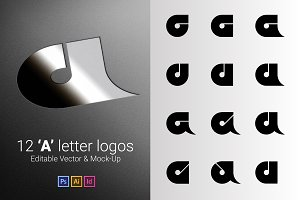 12 A Letter Logos - Vector & Mock-Up