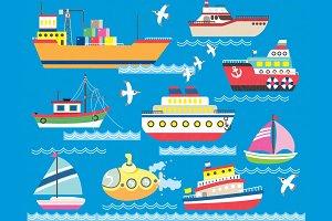 Cute Sea Transportation Collection