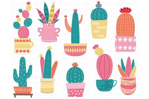 Cute Colorful Cacti Elements