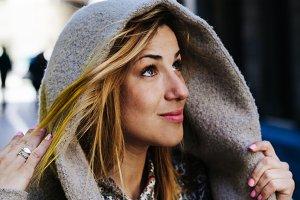 Hooded woman portrait