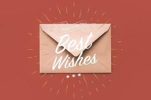 Christmas kraft envelope with greeti
