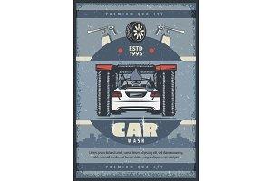 Car wash service retro poster