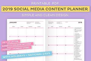 2019 Social Media Content Planner