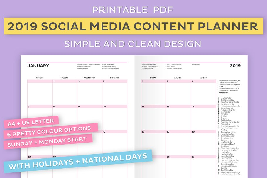 2019 Social Media Content Planner ~ Stationery Templates ~ Creative