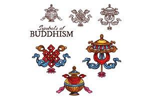 Buddhism religion auspicious sketch