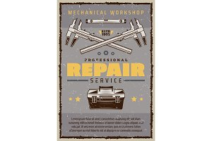 Car service poster with toolbox