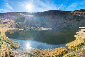 Panorama of mountains lake