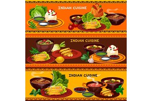 Indian cuisine restaurant banners