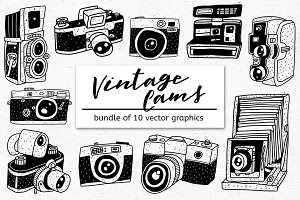 VINTAGE CAMS - Bundle of 10 Graphics