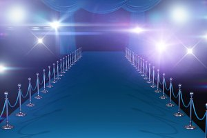 Composite image of curtains in blue