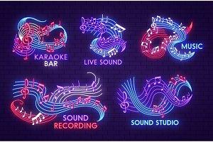 Music neon light signs