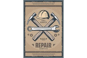 House repair service retro banner