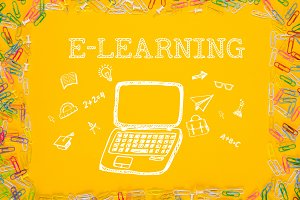 Drawn laptop with word E-learning