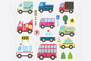Cute Transportation Collection Set