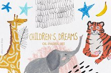 Oil Pastel Set | Children's Dreams by  in Illustrations