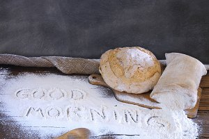 Bread on the table of the bakery.